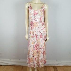 100% SILK Ann Taylor Floral Maxi dress NWOT